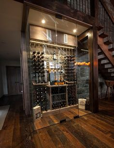 Under stairs space shouldn't be left unused, it's not a dead space! For those of you who love wine we've gathered cool ideas to organize a wine cellar or some simple wine storage space there. Glass Wine Cellar, Home Wine Cellars, Wine Cellar Design, Wine Cellar Modern, Wine Glass, Whisky Regal, Under Stairs Wine Cellar, Alcohol Storage, Wine Storage Cabinets