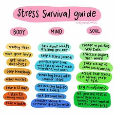 Repost a survival guide to stress for your mind body and soul. stress is my number one trigger for. For see more of fitness life images visit us on our website ! Chronischer Stress, Chronic Stress, Work Stress, Reduce Stress, Mental And Emotional Health, Mental Health Awareness, Mental Health Art, Mental Health Problems, Stress Meditation