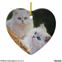 Kittens come play Double-Sided heart ceramic christmas ornament