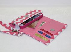 NEW STYLE TECH Cell Phone Case Wristlet iPhone Droid Wallet for Smart Phones / Pink/Pink Chevron on Etsy, $29.95