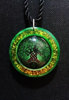 Celtic Tree of Life in Green Pearl Resin with Sparkly Green and Gold Resin + Free Shipping Worldwide, tree of life jewelry,spiritual jewelry by OurArtyCreations on Etsy