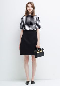 Le Ciel Bleu Gingham check Tee and Spatial Skirt