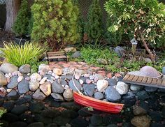 Miniature Garden Lakeside with Rowboat and bridge