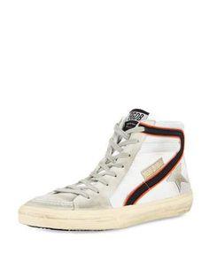 GOLDEN GOOSE GGDB-SLIDE MESH HIGH-TOP SNEAKER, WHITE. #goldengoose #shoes #