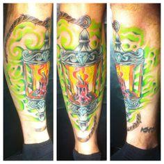 Memphis Tattoos. Inked Memphis. Tattoo by Myke Daubenspeck. Awesome Art. #Colorful Tattoo. Lantern tattoos. Candle tattoo #Lantern Tattoo #Tattoo #Myke Daubenspeck #Memphis