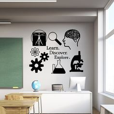 Learn, Discover, Explore Vinyl wall Decal. Great for class rooms, and for those who love science. Science wall art, microscope, atom, brain.