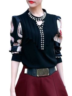 Printed Racerback Chic Band Collar Blouses