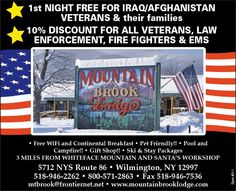 "Beautiful post deployment getaway! Mountain Brook Lodge w/ #MilitaryDiscount ""First night free on a 2 day stay for Iraq/Afghanistan Veterans!"" Wilmington NY Veteran owned!    See some great images of lodge at Ft Drum on MilitaryAvenue.com!"