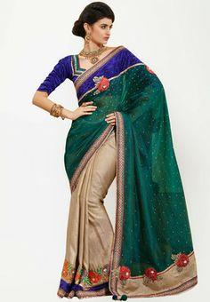 Bahubali Embellished Green Saree