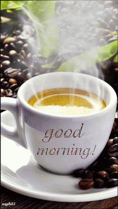 Morning Coffee Gif - Image of Coffee and Tea Good Morning Coffee Gif, Good Morning Picture, Good Morning Good Night, Morning Pictures, Good Morning Images, Good Morning Quotes, Coffee Break, Sunday Quotes, Gif Café