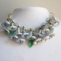 Vtg 1940's Celluloid Chain Bluebell Flower Dangle Bib Glass Leaf Necklace #Chain