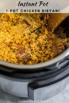 Chicken Biryani is a delicious, flavorful and immensely satisfying Indian dish made with chicken and rice. Make it in the Instant Pot in under 1 hour. Best Chicken Recipes, Veggie Recipes, Vegetarian Recipes, Veggie Food, Rice Recipes, Lunch Recipes, Indian Appetizers, Indian Snacks, Rice On The Stove