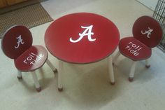 Alabama Table painted for the kids with hounds tooth ribbon accents