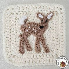 Crochet Granny Square Patterns Ravelry: Whitetail Fawn Applique pattern by The Rusted Pansy - Applique is approximately tall and wide. Crochet Blocks, Granny Square Crochet Pattern, Crochet Squares, Crochet Blanket Patterns, Crochet Motif, Crochet Stitches, Granny Squares, Crochet Appliques, Crochet Afghans