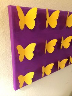 3D Handmade Yellow Butterflies on Plum Painted by LarlenDesigns