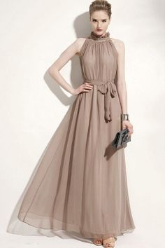 #Vintage High-neckline #Chiffon Maxi #Dress - OASAP.com