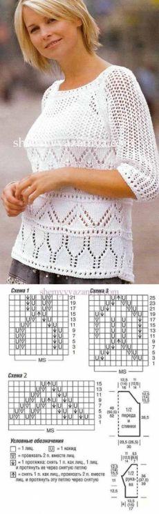 Пуловер-реглан ажурным и сетчатым узором - ВЯЗАНАЯ МОДА+ ДЛЯ НЕМОДЕЛЬНЫХ ДАМ - Страна Мам