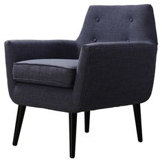 Bring classic style to your living room or master suite with this handsome accent chair, showcasing a midcentury-inspired silhouette and navy upholstery.