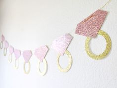 Wedding Ring Banner - Bachelorette Party Decor- Bridal Shower Banner - Engagement Ring Banner - Blush and Gold Wedding - He put a ring on it