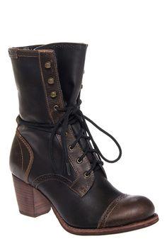 CAT - Stella Mid Calf Chunky Heel Cap Toe Lace Up Boot - Black Dark Brown