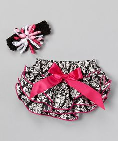 Pink & Black Damask Diaper Cover & Headband - Infant #zulily #zulilyfinds