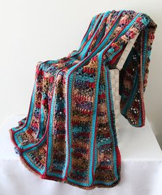 Afghan  Handmade Crochet Large Panel Blanket  by SnuggableStitches
