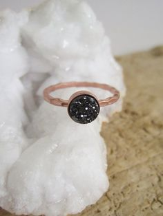 LOTS OF COLORS & FINISHES! WEAR ALONE OR STACKED! Tiny Black Druzy Ring Titanium Drusy Quartz by julianneblumlo, $58.00