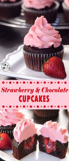Strawberry and Chocolate Cupcakes. Super moist and soft chocolate cupcakes filled with homemade strawberry puree and decorated with an amazing butter-free strawberry frosting! Check out the recipe video on How Tasty Youtube Channel!