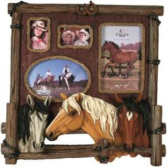 Western Wood, Rope & Horses 4 Image Photo Frame 468