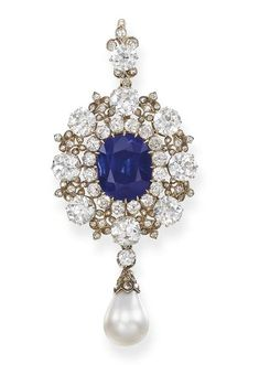 Antique Sapphire, Diamond And Pearl Pendant/Brooch c.1885 Christie's