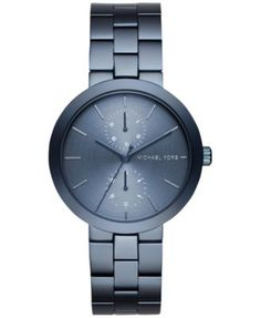 Michael Kors Women's Garner Blue Ion-Plated Stainless Steel Bracelet Watch 39mm MK6410 $112.50 Add some cool notes with this icy blue timepiece from Michael Kors' gorgeous Garner collection, featuring a useful chronograph design.