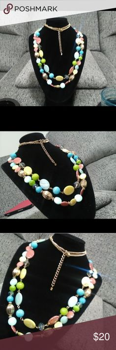 "Double layered necklace/Long!! 30""L. Round & oblong beads /multi colored! Goldplated link. Very nice accessory! Jewelry Necklaces"