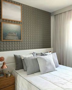 Inspiração ♡ #interiores #design #interiordesign #decorlovers #archilovers #inspiration #ideias #dormitório #quarto #bedroom Double Bedroom, Modern Bedroom, Bedroom Colors, Bedroom Decor, Teenage Room, Suites, Bedroom Vintage, Home Staging, Interiores Design