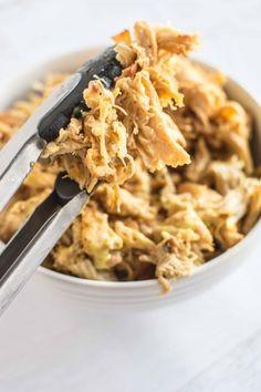 Slow Cooker Honey Mustard Pulled Chicken Easy Pulled Chicken Recipe, Stew Chicken Recipe, Chicken Pasta Recipes, Slow Cooker Chicken Stew, Slow Cooker Shredded Chicken, Honey Dijon Chicken, Honey Mustard Sauce, Slow Cooker Recipes, Gf Recipes