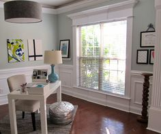 Before and After: Dining Room into Home Office - trim work Palladian Blue Benjamin Moore, Home Reno, Cottage Homes, Home Living Room, Home Office, New Homes, Interior Design, Room Ideas, Decor Ideas
