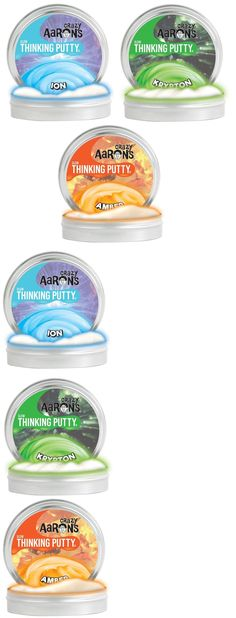 Play-Doh Modeling Clay 11740: Crazy Aaron S Thinking Putty Glows Ion Krypton Amber 3.2 Oz 4 Tin 3 Pack New -> BUY IT NOW ONLY: $32.99 on eBay!