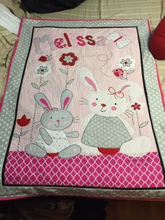 Custom made Personalized applique baby quilt by MinniesThingies