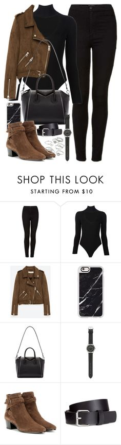 """""""Outfit with black jeans, brown suede jacket and boots"""" by ferned ❤ liked on Polyvore featuring Topshop, Cushnie Et Ochs, Freebird, Casetify, Givenchy, J.Crew, Yves Saint Laurent, H&M and Candie's"""