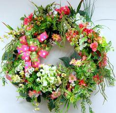 Pink Spring Wreath Pink Wreath Floral by BlackandWhiteCandles