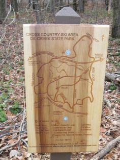 Wooden cross country ski area map - Oil Creek State Park Trail Signs, Area Map, Cross Country Skiing, Wooden Signs, State Parks, Red And Blue, Bike Stuff, Projects, Backyard