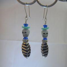 Day of The Dead / Dia de las Muertos Bead Dangle Skull Earrings by StoneJewelsByAng on Etsy