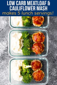 LOW CARB meatloaf and cauliflower mash is healthy comfort food. Makes five delicious servings perfect for a low carb lunch. #sweetpeasandsaffron #lowcarb #meatloaf Low Calorie Lunches, 300 Calorie Meals, Low Carb Lunch, Lunch Meal Prep, Low Calorie Recipes, Healthy Comfort Food, Healthy Meal Prep, Healthy Snacks, Healthy Recipes