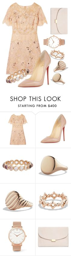 """""""Gold+Pink"""" by hannahgrinton on Polyvore featuring Notte by Marchesa, Christian Louboutin, Irene Neuwirth, David Yurman, Larsson & Jennings and Mansur Gavriel"""