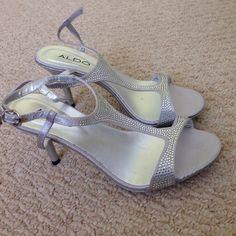 Size 6 Silver Aldo Heels Worn once indoors- excellent condition ALDO Shoes Heels