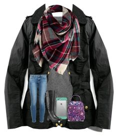 """""""Going home early because of snow😄❄️"""" by shenry2016 ❤ liked on Polyvore featuring J.Crew, Barbour, Paige Denim, LifeProof, Timberland and Vera Bradley"""