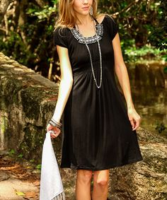 Another great find on #zulily! Black Embellished Cutout Cap-Sleeve Dress by Cristina Love #zulilyfinds
