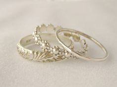 Antique Style Stacking Rings Set of 3 Sterling Silver Floral Flower Rings