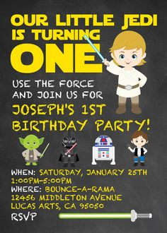 Star Wars Birthday Invitations ANY PARTY By Themed Ideas Design