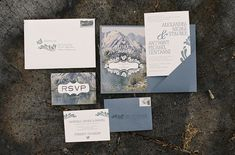 I love the concept behind this invite! Beautiful scenery photo depicting where they are getting married...could be of a multitude of things! Great idea.