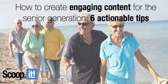 Baby boomers spend more time consuming content than any other demographic. Find out how to create engaging content for the senior generation. Lead Generation, First Step, Get Healthy, Content Marketing, My Life, Learning, Create, Tips, Baby